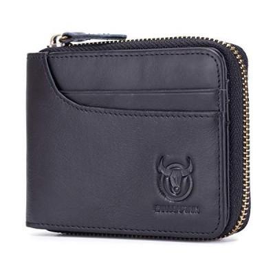 メンズ レザー ジッパー財布 RFIDブロック 二つ折り 安全 ビンテージ ジップアラウンド マルチクレジットカードホルダー, ブラック, S