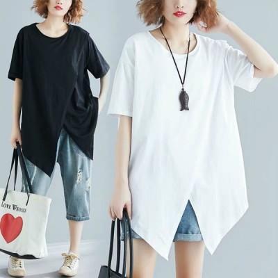 半袖ロンt レディース 半袖tシャツ ロングtシャツ ロングブラウス ゆったり 半袖ロンt  送料無料