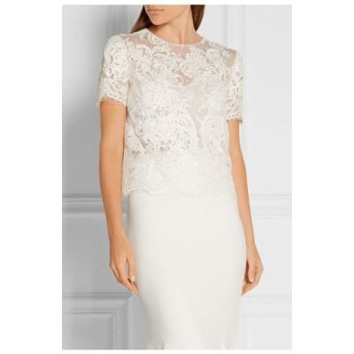 トップス マルケッサ  Marchesa Embellished Embroidered Pearls Lace Tulle Top White Blouse 4