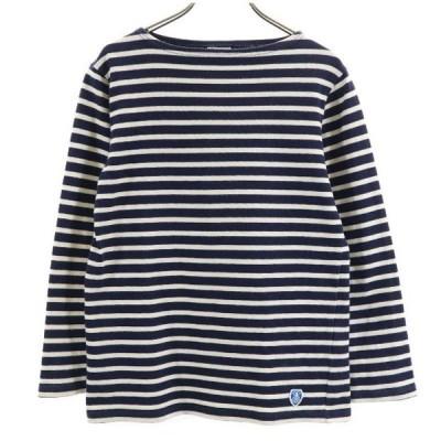 オーチバル フランス製 バスクシャツ ポートネック ボーダー 長袖 Tシャツ 2 紺×白 ORCIVAL ロンT カットソー メンズ 古着 210404 メール便可
