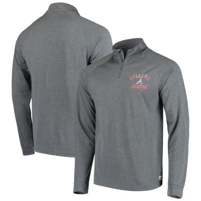 アトランタ・ブレーブス Stitches Team Raglan Quarter-Zip Pullover ジャケット - Heathered Charcoal