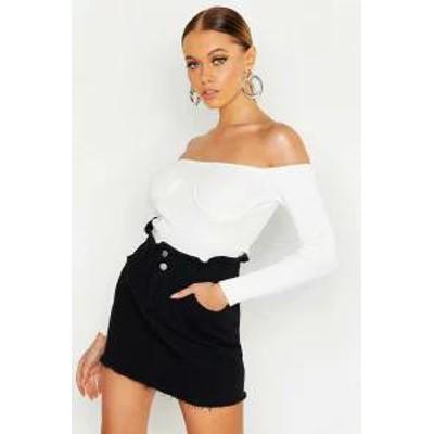 Boohoo レディースシャツ Boohoo Elastic Ruffle Denim Skirt black
