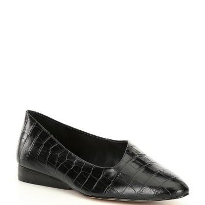 ワンステート レディース サンダル シューズ Bennie Croc Embossed Leather Asymmetrical Flats Black