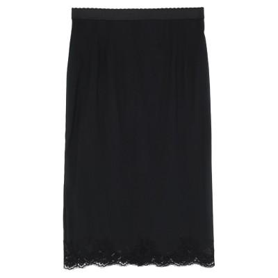 ドルチェ & ガッバーナ DOLCE & GABBANA 7分丈スカート ブラック IV シルク 80% / コットン 12% / ポリエステル 8