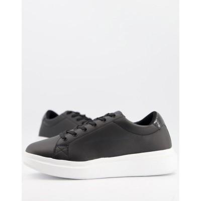 エイソス ASOS DESIGN メンズ スニーカー シューズ・靴 trainers with chunky sole and contrast heel in black ブラック