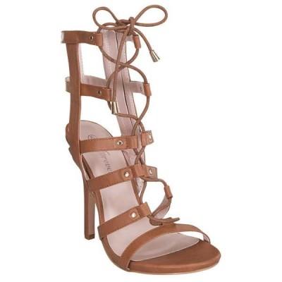 ヒール パンプス ビジネス シューズ 靴 海外ブランド ベストon New GB08 レディース Stylish Caged Lace Up Gladiator デザイン Side ジッパー サンダル TAN