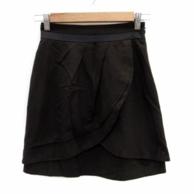 【中古】アプワイザーリッシェ Apuweiser-riche スカート フレア ひざ丈 1 茶色 ブラウン /HO31 レディース