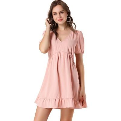 uxcell Allegra K ワンピース ドレス Vネック パフ半袖 弾性あるウェスト フリル裾 レディースファッション ピンク XS