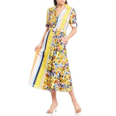 バッジェリーミシュカ レディース ワンピース トップス Stripe Floral Button Front Belted Midi Dress Yellow Mutli