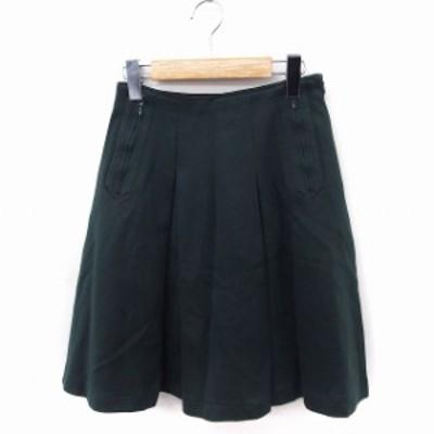 【中古】The Virgnia スカート フレア ひざ丈 無地 コットン 綿 36 グリーン 緑 /FT5 レディース