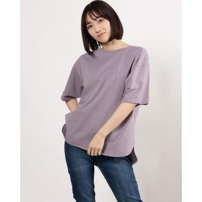 ジーラ GeeRA 綿100%ラウンドヘムビッグTシャツ (ライトパープル)