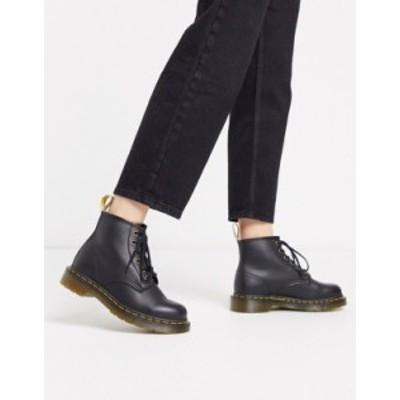 ドクターマーチン レディース ブーツ・レインブーツ シューズ Dr Martens Vegan 101 6 eye boots in black Black felix rub off