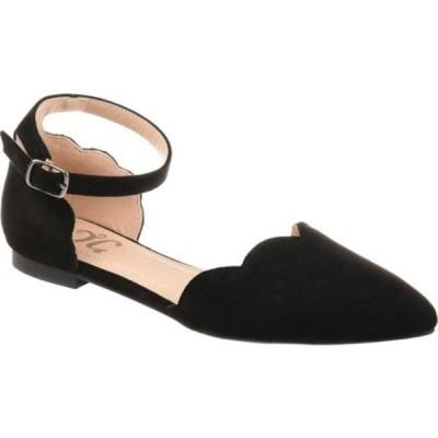 ジャーニーコレクション サンダル シューズ レディース Lana Pointed Toe Ankle Strap Flat (Women's) Black Microsuede Fabric