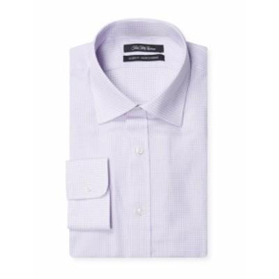 サックスフィフスアベニュー Men Clothing Dobby Check Cotton Dress Shirt