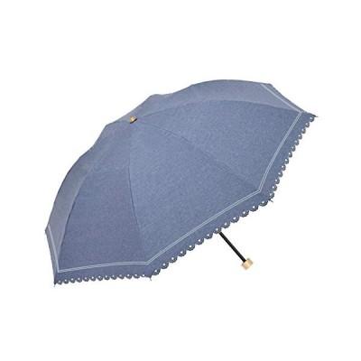 ウォーターフロント(Waterfront) 折りたたみ傘 Denim Border Parasol ネイビー 手開き 晴雨兼用 50cm