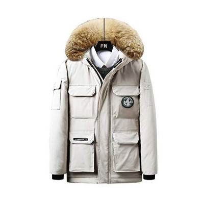 XUEYIER メンズ アウター 綿コート 中綿ダウン フード付き ファー付き 暖かい 撥水 ダウンジャケット 防寒 アウトドア 冬服 防風