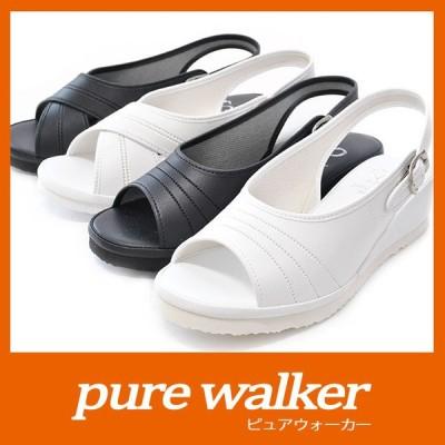 【送料無料】 レディース ナースシューズ ナースサンダル 201 203 黒 白 pure walker ピュアウォーカー ベーシック 静音 静か ダイマツ