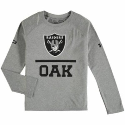 Under Armour アンダー アーマー スポーツ用品  Under Armour Oakland Raiders Youth Gray Combine Lockup Tech Long Slee