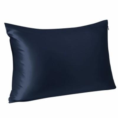 PiccoCasa 枕カバー 100%シルク 22匁 ピローケース 美肌美髪 滑らか ファスナー付き つるつる 贅沢 ネイビー 50*90cm