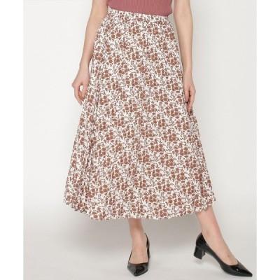 スカート 小花プリントプリーツスカート