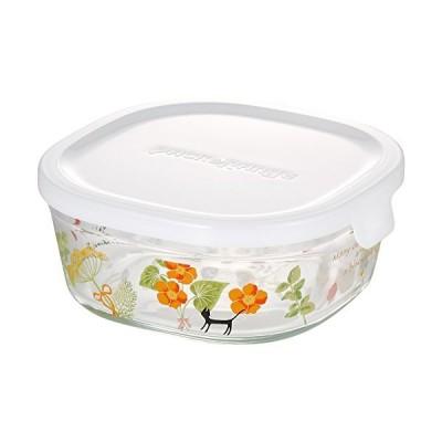 iwaki(イワキ) 耐熱ガラス 保存容器 シンジカトウ colorful herbs 角型 S 450ml ごはん 1膳 パック&レンジ B3240