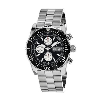 Revue Thommen Diver Automatic Watch - Black Dial Chronograph Day Date Revue Thommen Watch Mens - Waterproof Large Stainless Steel Swiss Prof
