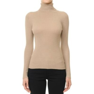 セーター レディース アンビ Khaki Women's Basic Stretch Knit Long Sleeve Soft Turtle Neck Top Pullover Sweater S L