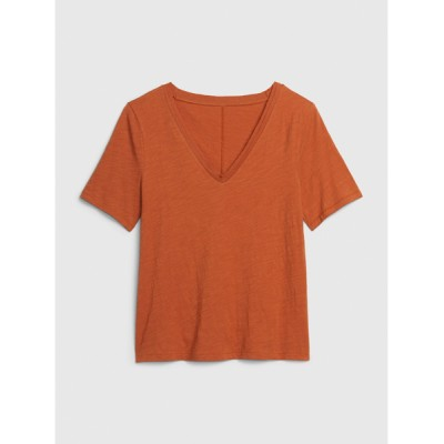 tシャツ Tシャツ スラブ半袖vネックtシャツ