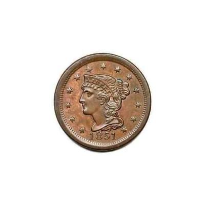 金貨 銀貨 硬貨 シルバー ゴールド アンティークコイン 1851 N-15(a) R-4 Braided Hair Large Cent Coin