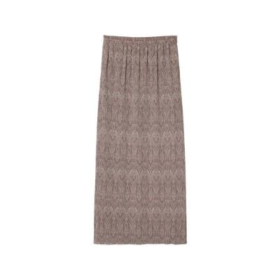 リエディ Re:EDIT [2021SUMMER COLLECTION][低身長サイズ有]総柄マットプリーツIラインスカート (ダマスクモカ)