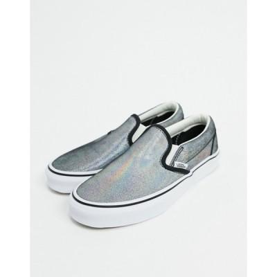 バンズ レディース スニーカー シューズ Vans Slip-On Prism Suede sneakers in black/white