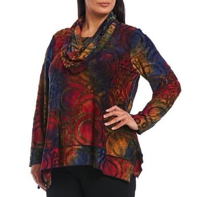 アリ マイルス レディース カットソー トップス Plus Size Tie-Dye Abstract Texture Knit 3/4 Sleeve Tunic With Attached Scarf
