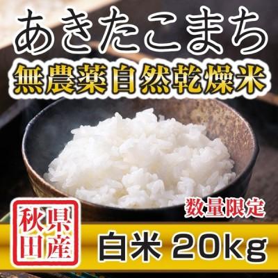 令和2年産米 秋田県産 あきたこまち 無農薬自然乾燥 白米 20kg 農家直送