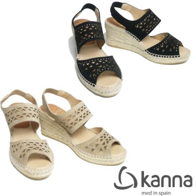 KANNA カンナ スエードレザー ジュートサンダル カットワークタイプ 7cmヒール 19KV9133-19ss