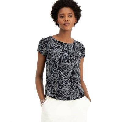 アルファニ Tシャツ トップス レディース Petite Printed T-Shirt, Created for Macy's Black Soft