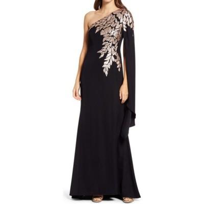 タダシショージ TADASHI SHOJI レディース パーティードレス ワンショルダー ワンピース・ドレス One-Shoulder Cape Sleeve Crepe Gown Black/Ginseng