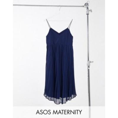 エイソス レディース ワンピース トップス ASOS DESIGN Maternity pleated cami midi dress with drawstring waist in navy Navy