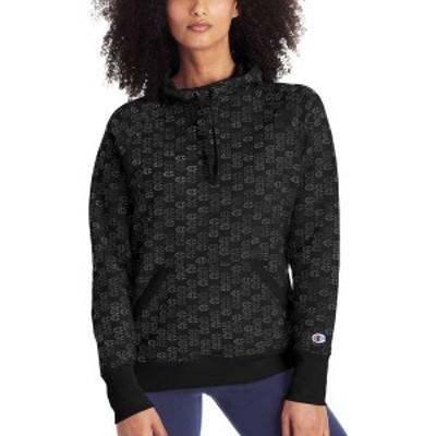 チャンピオン レディース パーカー・スウェット アウター Champion Women's Powerblend Fleece Print Hoodie Black