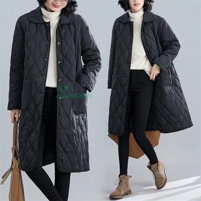 キルティングコート ロングジャケット 保温性抜群 レディース 長袖 無地 ゆったり 秋冬 防寒 シンプル ポケット付き カジュアル風