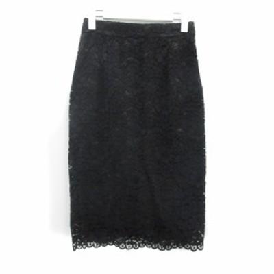 【中古】マルティニーク martinique ジャガータイトスカート チュール ひざ丈 レース 1 S 黒 ブラック /AY レディース