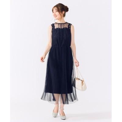 (Feroux/フェルゥ)エアリーフラワープリーツ ドレス/レディース ネイビー系