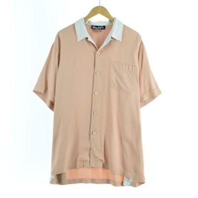 オープンカラー 半袖 シルクシャツ メンズXL /eaa163656