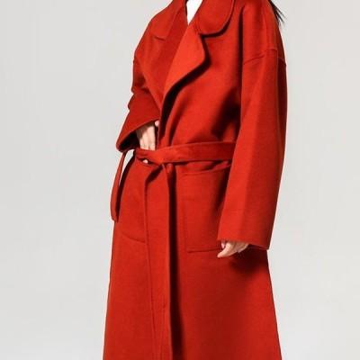 チェスターコート 冬 ウール ロング ロングコート 大きいサイズ アウター きれいめ 大人 ウエストリボン 20代 30代 40代 レッド