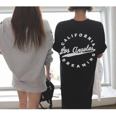 Tシャツロングワンピース バックプリント CALIFORNIA カリフォルニア 人気デザイン プリントTシャツ シャツワンピ おしゃれ 個性的