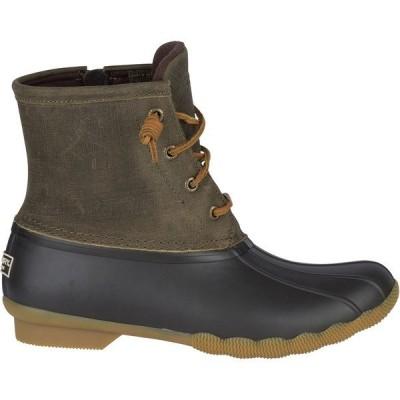 トップサイダー ブーツ&レインブーツ シューズ レディース Sperry Women's Saltwater Core Waterproof Duck Boots Olive