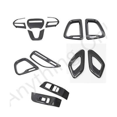 【新品】HIGH FLYING Car Interior Accessories Window Switch Panel, Center Console A/C Air Vent Trim, Steering Wheel Kits ABS Carbon Fiber