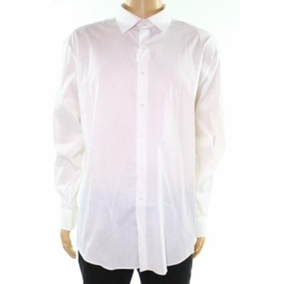 diamond ダイヤモンド ファッション ドレス Alfani NEW White Mens Size 17 1/2 Diamond Print Regular Fit Dress Shirt