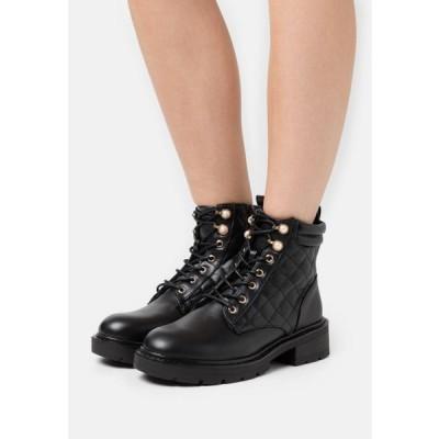 ニュールック レディース 靴 シューズ DION QUILTED LACE UP WITH PEARLS - Lace-up ankle boots - black