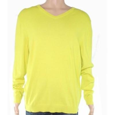 Alfani  ファッション トップス Alfani Mens Sweater Green Size Large L Knit V-Neck Ribbed-Trim Solid