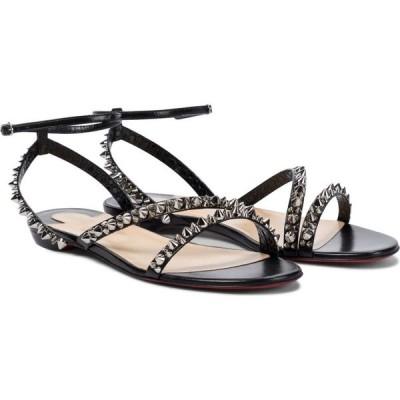 クリスチャン ルブタン Christian Louboutin レディース サンダル・ミュール シューズ・靴 mafaldina spikes leather sandals Black/Silver